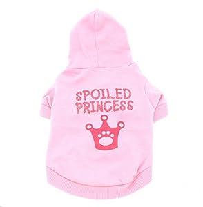 smalllee _ LUCKY _ ranger de petits vêtements pour chien à capuche pour fille Couronne pour homme, rose