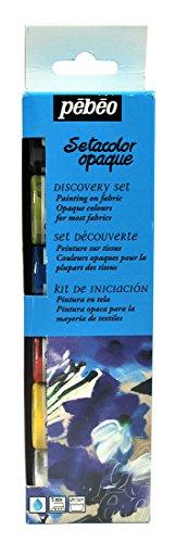 Pebeo - kit pittura per tessuto opaca setacolor con accessori, collezione discovery, 6 colori x 20 m