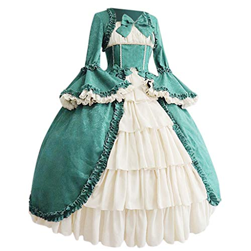 LILIHOT Mode Lolita Kleid Frauen Vintage Gothic Court Square Kragen Patchwork Bow Kleid Party Kostüm Cosplay Ballkleid Mode Frauen Patchwork Bow (Im Lager Cosplay Kostüm)