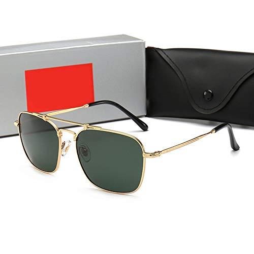 FANCYKIKI Mode fahren HD Sonnenbrille, polarisierte Sonnenbrille für Männer Frauen Vintage High-End-Sonnenbrille für Reisen im Freien (Farbe : Gold frame/dark green)