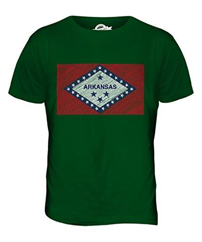 CandyMix Bundesstaat Arkansas Kritzelte Flagge Herren T Shirt Flaschengrün