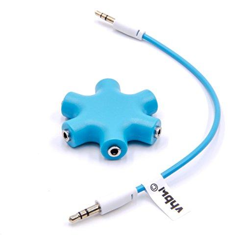 vhbw Audio Splitter, Klinkenverteiler 5-fach blau inkl Klinken-Kabel für Kopfhörer, Smartphone, CD / DVD-Player, MP3-Player