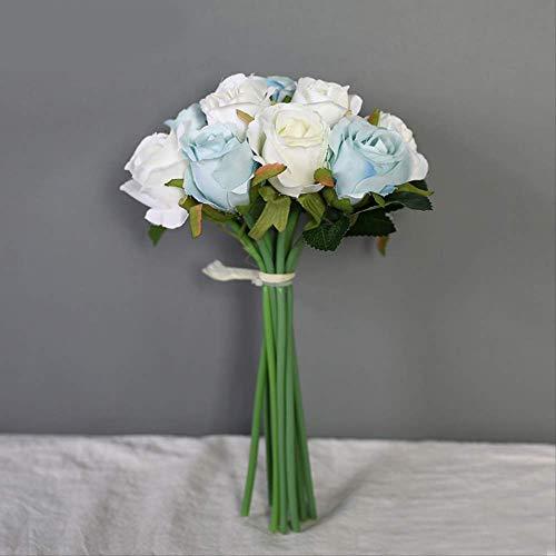 JHZHK hohe qualität 12 köpfe Blumen hochzeitsstrauß Braut Blume gefälschte Seide künstliche Blume rosenkranz Girlande wohnkulturweiß blau - Rosa Rosenkranz Blau Und