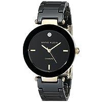 Anne Klein Women's Quartz Watch with Black Dial Analogue Display and Black Ceramic Bracelet AK/1018BKBK