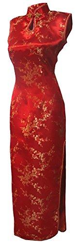 Kostüme Gewand Chinesische (7Fairy Damen Rot Chinesisch Hochzeit Kleid Qipao Blumen Lang Schlüsselloch Größe De)