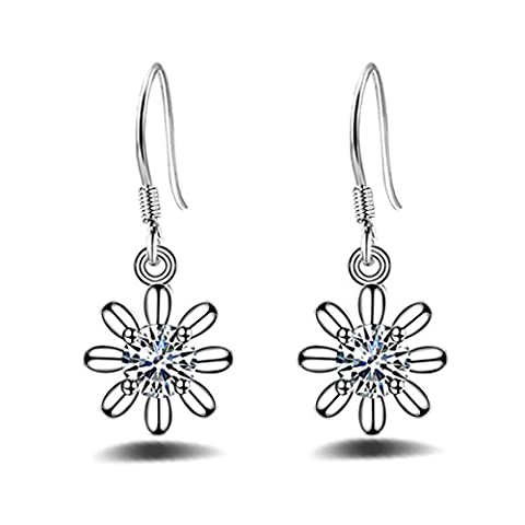 Wiftly Damen-Ohrhänger Ohrringe Plum Daisy Blumen Zirkon 925 Sterling Silber