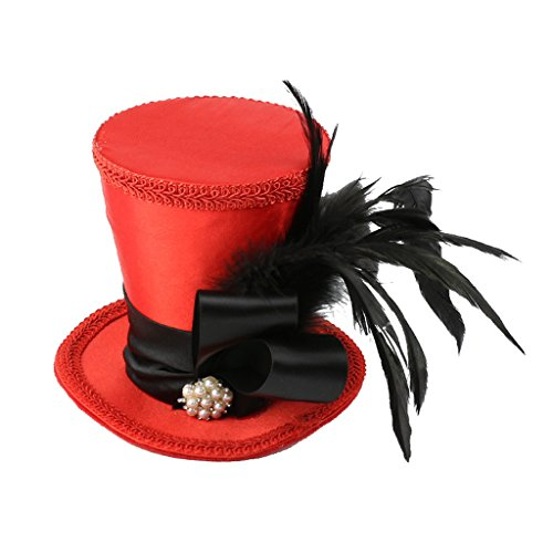P Prettyia Sombrero de Copa Rojo Banda de Sombrero Superior Vintage Mini Traje de Baile de Fiesta de Novia