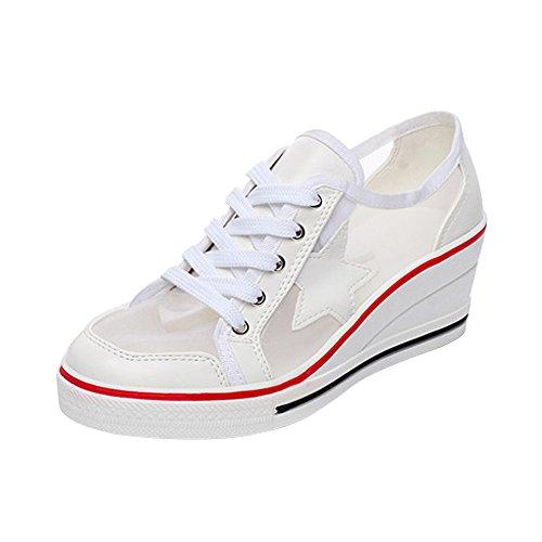 OCHENTA Femme Baskets Mode en Toile Talon Compensé Chaussures de Sport Fermeture Lacets #7 Blanc