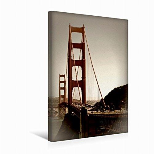Preisvergleich Produktbild Premium Textil-Leinwand 30 cm x 45 cm hoch GOLDEN GATE BRIDGE Vintage | Wandbild, Bild auf Keilrahmen, Fertigbild auf echter Leinwand, Leinwanddruck: Vista Point (CALVENDO Orte)