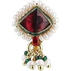 Sri Shringarr Fashion Micro Gold Polished Semi Precious Kundan & Pearl Nath/ Nose Pin/Nose Ring. N127ON