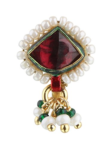 Sri Shringarr Fashion Micro Gold Polished Semi Precious Kundan & Pearl Nath/ Nose Pin/Nose Ring. N127ON