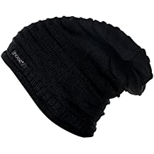 Noise NOICAPWNTR005 Wrinkled Slouchy Polyester Beanie, XL (Black)