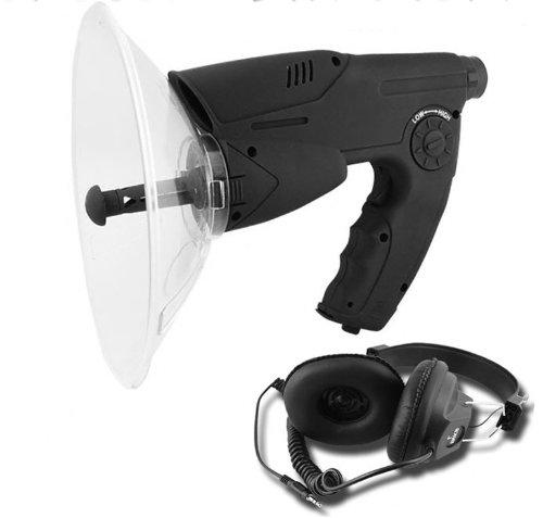 Parabol-Richtmikrofon mit Kopfhörer und Aufnahmefunktion geräuschverstärker Parabol Richtmikrofon mit Aufnahme Abhörgerät Geräuschverstärker MWS