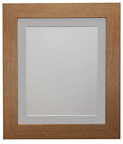 FRAMES BY POST London Oak Picture Photo Poster Frame (39mm Wide x 15mm deep) with Light Grey Mount 18