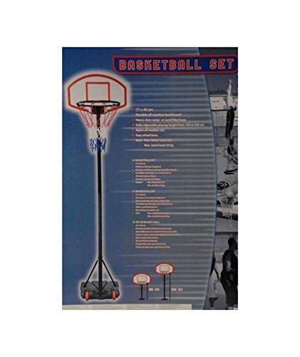 Mobiler Basketballkorb mit Rollen | verstellbare Korbhöhe 165 - 205 cm - Backboard 71 x 45 cm -