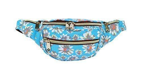 Erhöhte Für Divas Neu Damen Urlaub Leinen Denim Aztek Blumen Blumen Gepunktet Hintern Packung Reise Bum Taschen Grunge - Denim schwarz Sky Blau gänseblümchen blumen