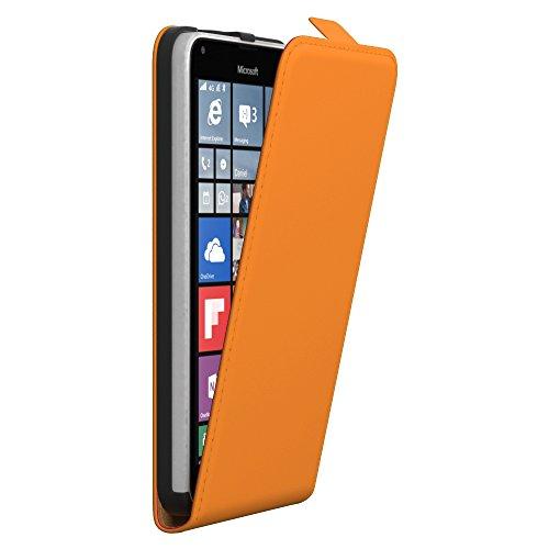 PREMIUM - Flip Case für - Nokia Lumia 535 - Wallet Cover Hülle Schutzhülle Etui Tasche Schwarz Orange (Flip)