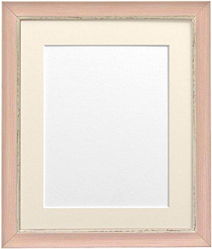 Frames By Post  A2 Nordic Bild-/Fotorahmen mit Plastikscheibe für A3 großes Bild mit elfenbeinfarbenem Passepartout, Antique-Look, rosa