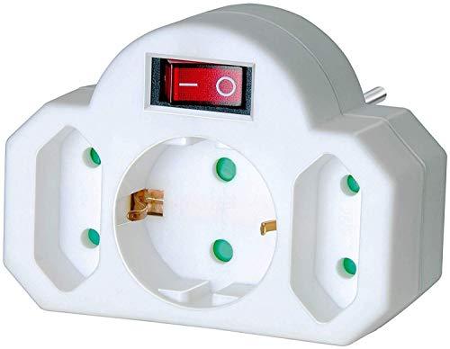 Brennenstuhl Mehrfachsteckdose, Steckdosenadapter 3-fach mit Schalter (Zwischenstecker bestehend aus 2 x Eurosteckdose & 1 x Schutzkontakt)