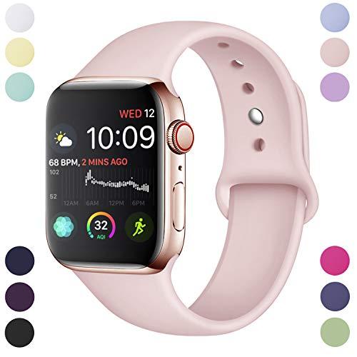 Hamile Armband Kompatibel für Apple Watch 38mm 40mm, Weiche Silikon Wasserdicht Ersatz Uhrenarmbänder für Apple Watch Series 5, Series 4, Series 3, Series 2, Series 1, S/M Rosa