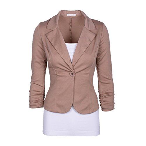 CHENGYANG Veste de tailleur Manches 3/4 Un Boutons Uni Veste Manteau Blazer Court Femme Kaki
