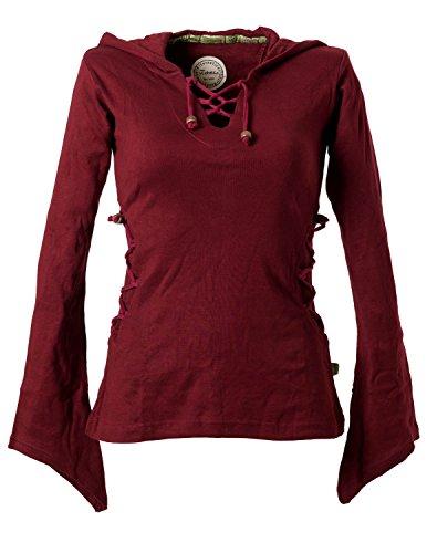 Vishes - Alternative Bekleidung - Elfenshirt mit Zipfelkapuze und Bändern zum Schnüren dunkelrot 36