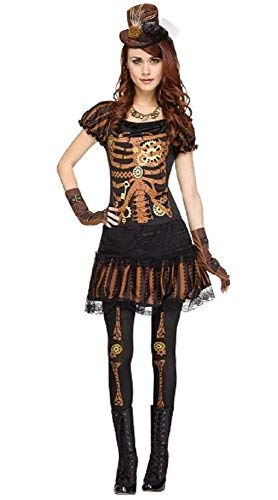 Fancy Me Damen 4 Stück Sexy Steampunk Skelett + Strumpfhose Halloween Kostüm Kleid Outfit - Schwarz, UK 14-16 (Sexy Skelett Outfits)