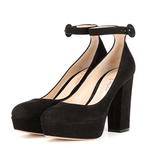 SHOFOO - Femmes - Stiletto - Cuir de daim synthétique - Semelle compensée 2 cm - Bride de cheville - Noir ou Rose ou Jaune - Talon épais - Bout rond fermé