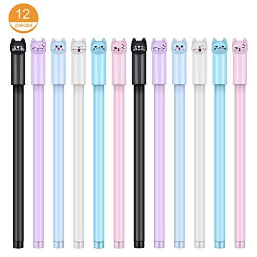 12 x 0,38 mm süße Katzen-Kugelschreiber, schwarze Kugelschreiber, für Schule, Büro, Zubehör für Jungen und Mädchen