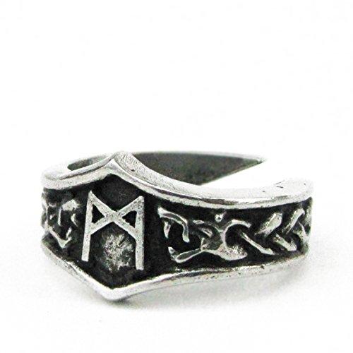 Unisex Wikinger Ring mit Runen aus Hartzinn, Verstellbar (M - Mannaz)
