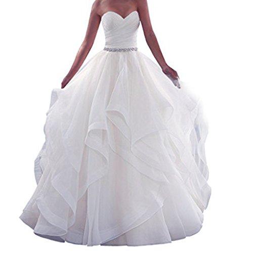 EVANKOU Damen Lang Schulterfreie Schulterfrei Braut Hochzeitskleid Brautkleider Weiß Größe 38