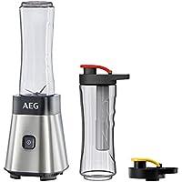AEG MiniMixer SB 2700 PerfectMix / Smoothiemaker  (0,4 PS-Power-Motor, 2 600 ml Flaschen, Kühlakku, 4-Klingen Edelstahl) gebürstetes Edelstahl