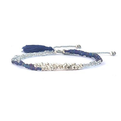 SoulSisters Lieblingsschmuck Handmade Ibiza Boheme Freundschafts Perlen Armband Quaste Silber Blau
