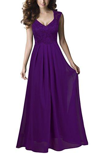 REPHYLLIS Damen Vintage Chiffon Hochzeit Brautjungfer Lang Spitzenkleider - Lila Chiffon-langes Kleid
