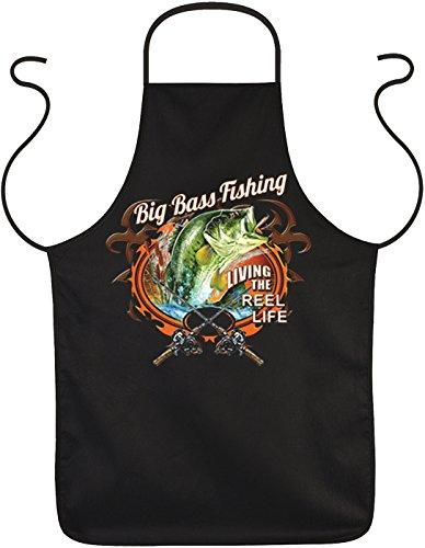 Angler Fisch Motiv Kochschürze - Anglerschürze : Big Bass Fishing -- Grillschürze Angelsport Farbe: schwarz (Bass-fischen-shirt)