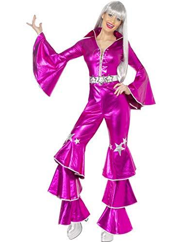 Frauen Kostüm Abba - Halloweenia - Damen Frauen 70er Jahre Glanz-Tanz-Traum Show Kostüm mit Schlag-Jumpsuit Overall Einteiler, perfekt für Karneval, Fasching und Fastnacht, L, Pink