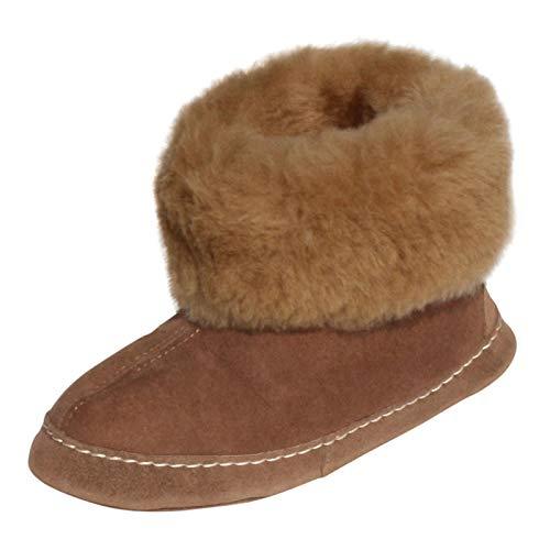 Hollert Leather Lammfell Hausschuhe ESPANIOL Premium Fellschuhe aus 100% Merino Schaffell Größe EUR 45, Farbe Braun