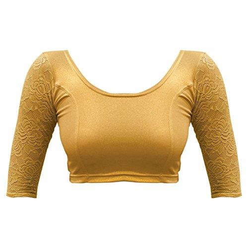 Bindigasm's ADVI Women's Shimmer Lycra Blouse (2103-XL_Gold_X-Large)