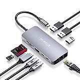 USB C Hub, MECO ELEVERDE 9-in-1 Multifunktional Type-C Adapter (3xUSB 3.0+USB C PD+USB C Datenport+RJ45 Gigabit Ethernet+4K HDMI+SD/TF-Kartenleser) für MacBook Pro,...
