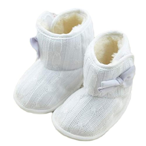 VENMO Babyschuhe VENMO Baby Bowknot Weiche Sohle Schuhe Babyschuhe Schneestiefel Weiche Rutschfest Stiefel Schneestiefel Winterstiefel Babyschuhe Mode Schnee Stiefel Warme Schuhe 0-18 Monat (SIZE:11, White)