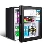 Lxn Negro Enfriador de Bebidas y Nevera,Mini Debajo del refrigerador con la Puerta de Cristal, Soda...