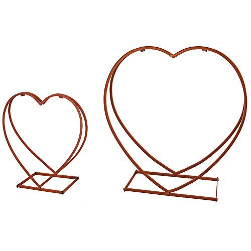 Schönes XXL 2er Set Brennholzablage Kaminholzregal Kaminholzablage Herz Stahl in Rost-Optik 53 x 20 x 51,5 und 77 x 26 x 74