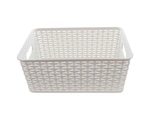YBM HOME Kunststoff Rattan Aufbewahrungsbox Behälter Abfalleimer Korb Wandschrank Regal Küche Schrank Pantry Büro Desktop Organizer Small Weiß -