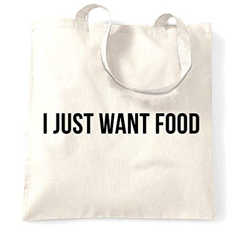Voglio solo cibo Mangia Hungry Love Food divertente Slogan fresco Sacchetto Di Tote White