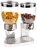 Müslispender Cerealienspender Cerealien Cornflakes Müsli Spender Dispenser Behälter, Version:Silber - Doppelspender rund