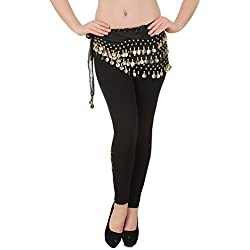 FancyDressWale Imported Belly Dance Belt Black With Gold Coins