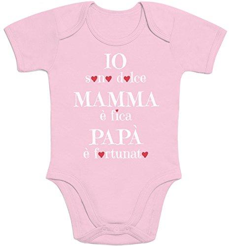 Shirtgeil io sono dolce, mamma è fica, regalo festa della mamma body neonato manica corta 6m rosa
