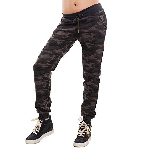 Toocool - Pantaloni donna tuta elastico mimetici militari camouflage camo nuovi CX-197 Mimetico fango