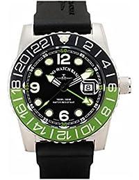 Zeno Airplane Diver, Cuarzo, GMT, Verde/Negro, calendario, caucho banda