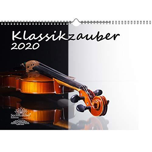 Klassikzauber DIN A3 Kalender 2020 Klassik und Instrumente Geschenk-Set: Zusätzlich 1 Grußkarte und 1 Weihnachtskarte - Seelenzauber